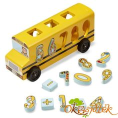 Melissa & Doug Number Matching Math Bus - Educational Toy With 10 Numbers, 3 Math Symbols, and 5 Double-Sided Cards, Multicolor
