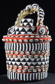 Africa   Wisdom Basket ~ Kweemishaam'l ~ from the Kuba people of DR Congo   Wood, raffia, cowrie shells, glass beads   ca. 1970s