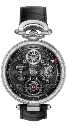 Bovet Fleurier.  If you'd like a complicated relationship with your watch, try this little jewel.  It boasts  Self-Winding 7-Day Tourbillon with Jumping hours, minutes indicated by the triangle on the outside ring, Seconds on tourbillon cage, Power reserve counter at 9 o'clock, is set with sapphire cabochon or with briolette diamond, a dial of openwork on Fleurisanne style with engraved case-colour or blackened bridges, Blackened hour wheel with luminova numbers.  Damn.