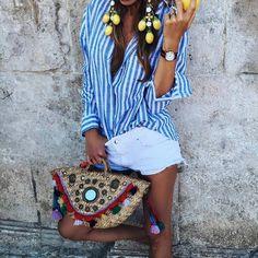 "362 Likes, 2 Comments - Miss K. (@lifestylecatcher) on Instagram: ""Summerlook via @arte_e_modabg 🍋🍋💙 #fashion #fashionista #streetstyle #fashionblogger #style #girl…"""