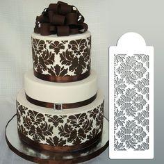 "4.5""H x 12.5""W Damask Cake Stencil , Cake Border Kitchen Accessories Decoration, Cake Border Stencils, Stencils for Wall"