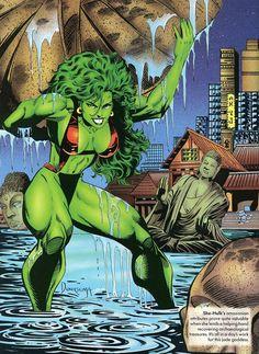"""marvel-dc-art: """" Marvel Swimsuit Special: She-Hulk by Jan Duursema & Tom Smith """" Hulk Marvel, Marvel Dc Comics, Hulk Comic, Marvel Art, Marvel Heroes, Comic Movies, Comic Book Characters, Marvel Characters, Comic Books Art"""