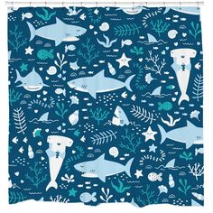 Amazon.com: Fun Shark Shower Curtain Set with Cute Fish Ocean Themed Bathroom for Kids and Teens 12 Hooks Included: Bedding & Bath