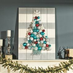 Holiday Ornament Display from this month's @HomeDepot Do-It-Herself Workshop! Register to make your own! #DIHWorkshop #sponsored