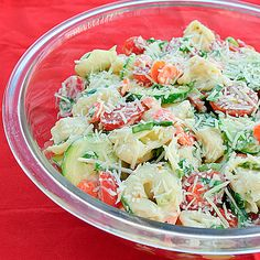 Summer Tortellini Salad With Cheese, Zucchini, Carrots, Cherry Tomatoes, Green Onions, Fresh Parsley, Ranch Dressing, Parmesan Cheese