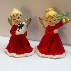Two-Vintage-Napco-Ware-Figurine-Christmas-Angels-Red-Dress