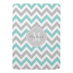 (Teal Blue and Gray Chevron with Monogram Baby Blanket) #AquaBlue #Chevron #Gray #LightGray #Modern #Monogram #Pattern #Quatrefoil #TealBlue #Trendy #ZigZag is available on Funny T-shirts Clothing Store   http://ift.tt/2d21Vkb