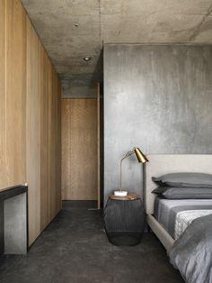 Concrete Interiors, Wood Interiors, Bedroom Loft, Home Bedroom, Bedrooms, Interior Architecture, Interior And Exterior, Interior Design, Concrete Wood