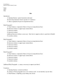 Elementary Research Paper Outline Template | Outline Format   DOC