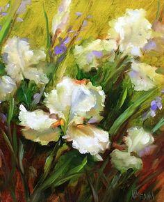 Nancy Medina Art: Lacey Breezes White Irises and a Shining Stars Art Show Honor by Texas Flower Artist Nancy Medina