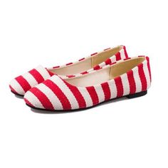 Stripe Color Match Round Toe Shallow Mouth Slip On Flat Shoes