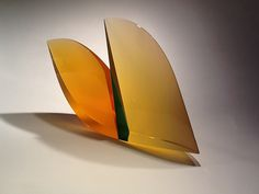 "martin rosol - yellow leaf  Leaf #1621 laminated #glass #sculpture  9.5 x 16 x 3"" #contemporary #glassart #artglass"