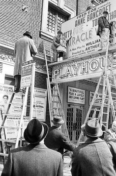 Broadway marquee The Miracle Worker Playhouse Theatre Broadway Theatre, Movie Theater, Vintage Signs, Vintage Photos, Playhouse Theatre, The Miracle Worker, Rich Image, Stage Show, Old Signs