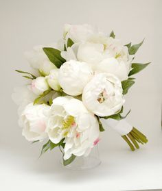 Peony Bouquet - White, Ivory, Cream Peony Bouquet, High Quality Silk Peonies, Cream Peony Bouquet
