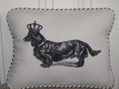 """vintage long haired dachshund  12 x 16"""" pillow sham with french ticking stripe from www.kreativbyerika.etsy.com"""