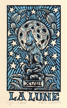 La Lune the Moon Tarot Card Hand Pulled Linocut Print by Neil Stavely