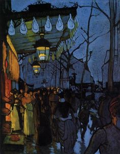 ANQUETIN. Louis  (French Impressionist Painter1861-1932) Avenue de Clichy - Five O'Clock in the Evening 1887 Oil on canvas, 69 x 54cm Wadsworth Atheneum, Hartford