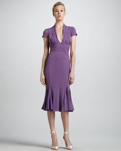 $2990 All the things I like are so expensive!  Zac Posen Contour-Seamed Flounce-Hem Dress, Violette - Neiman Marcus Curve-contouring details and a slinky silhouette make this Zac Posen dress ideal for date-night.  Contour-seamed jersey.  Plunging V neckline; short sleeves.  Fitted bodice with cutout details.  Formfitting through hip and thigh.  Godet pleats shape flouncy hem; hits past the knee.  Hidden back zip.  Viscose/acetate/spandex.  Silk/spandex lining.