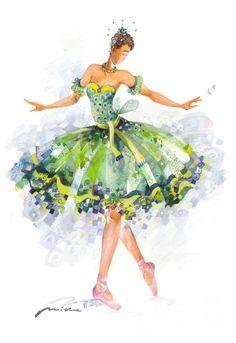 Cottage Charm ~ Green Ballarina ~ The Sleeping Beauty Ballet Fairy Series Ballerina Art, Ballet Art, Ballet Painting, Illustrations, Illustration Art, Sleeping Beauty Ballet, Ballet Beautiful, Ballet Costumes, Dance Art