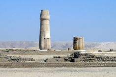 Small Aten Temple ruins - The ancient site of Tell el-Amarna extends across several square kilometres of desert on the edge of the River Nile about 200 miles south of Memphis/Cairo and 250 miles north of Thebes/Luxor. Comprising monumental buildings, waterfront facilities, industrial areas, residential suburbs, and edge-of-town cemeteries, the site represents a complete ancient city of New Kingdom date (c.1550-1069 BC), preserved beneath a thin covering of desert sand.