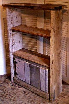 Bookcase with removable shelf, antique door hinges, secret compartment.