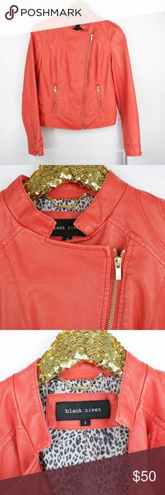 Black Rivet Bright Red Faux Leather Moto Jacket - Size: Small - Wilson Leather - New with tags. - No trades, thank you! - Pet and Smoke-Free Home  - Same or Next day Shipping  Measurements:  Bust: 34 inches Length: 21.5 inches Sleeve Length: 24 inches Black Rivet Jackets & Coats