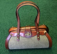 1960 s 1970 s RARE Vintage John Romain Leather and Tweed Handbag Purse Brown UnSd@81.00