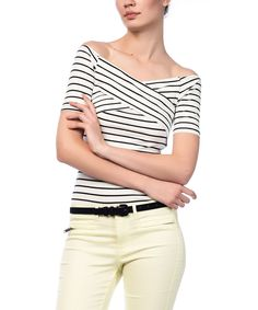 Look at this Black & White Stripe Off-Shoulder Top on #zulily today!