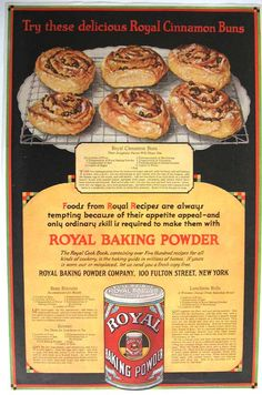 Vintage 1920's Royal Baking Powder Cinnamon Buns Ad