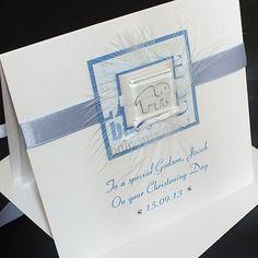 Handmade Christening Card for Boy - 'Elephant', Personalised for Son, Grandson, Godson, Nephew etc