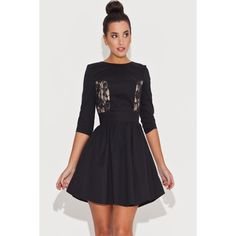 Flare Black Dress With Lace Front Panels LAVELIQ