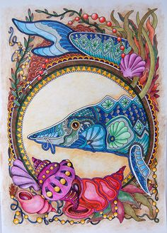 Аленкино рукоделие Adult Coloring, Coloring Books, Coloring Pages, Colouring Techniques, Color Activities, Colorful Fish, Underworld, Altered Books, Learn To Draw