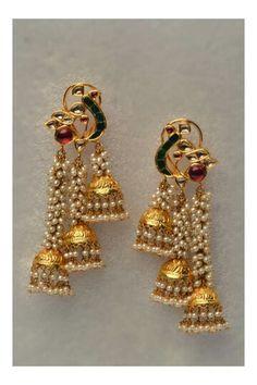 Gold Kundan Meena Earings <3