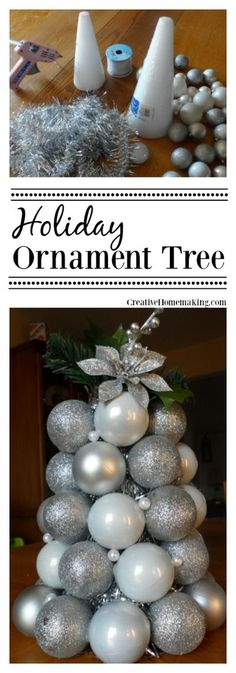 Easy holiday ornament tree made with Christmas tree ornament balls from the Dollar Store. Outside Christmas Decorations, Small Christmas Trees, Christmas Makes, Holiday Tree, Simple Christmas, All Things Christmas, Beautiful Christmas, Holiday Decorations, Merry Christmas
