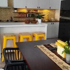 White black yellow combination. #tiles #leatherhandles #kitchen #diningroom