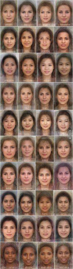 """Vaya Face!: La cara """"media"""" de la mujer de cada país del mundo según millones de imágenes.."""