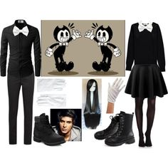 Bendy and the ink machine by fantasy2fiction on Polyvore featuring polyvore, fashion, style, Essentiel, SPANX, Prada, Timberland, Brooks Brothers, Armani Collezioni and clothing