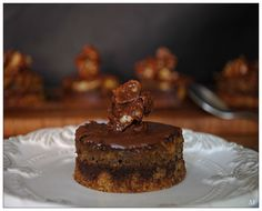 Three Layer Cacao Coffee Cake covered with Chocolate Ganache