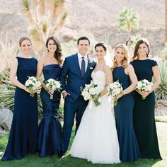 """Martha Stewart Weddings on Instagram: """"The bridesmaids in their navy gowns, surrounding this chic couple during the pre-ceremony photos among one crazy cool desert backdrop? Yes, Yes, Yes. See more from this chic celebration by picking up our new special issue. : @josevilla 