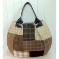 Brown Patchwork Shoulder Bag