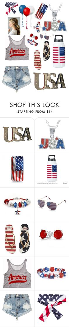 """Made in the U.S.A"" by ocslover ❤ liked on Polyvore featuring Crystal Sophistication, Bling Jewelry, Red Camel, Havaianas, One Teaspoon and Under Armour"