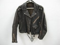 Vintage Leather Motorcycle Jacket with Shoulder Stars and Chrome Studs 1950'S | eBay