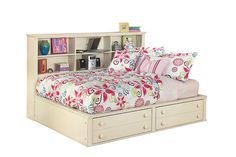Make her room a sanctuary with the Cottage Retreat full bookcase bed. Its dreamy, creamy finish appeals to vintage, shabby-chic and feminine aesthetics. Six ample cubbies provide plenty of space for books, keepsakes and personal expression. Footboard features two roomy drawers for keeping bedding close at hand. Mattress sold separately.