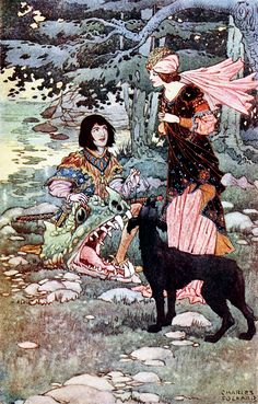 """'Good luck and victory were following thee, lad,' said the Princess. Illustration by Charles Folkard from """"British Fairy and Folk Tales"""" (1920)"""