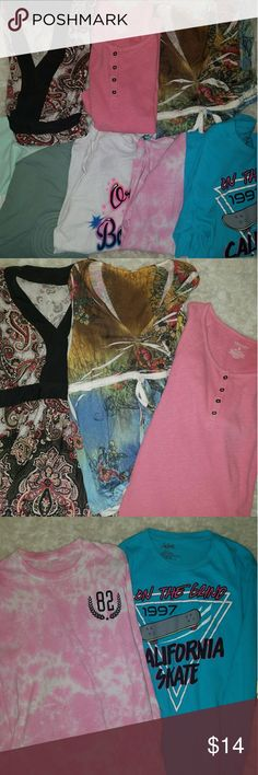 Bundle sale junior girls 4 like new long sleeve t's and 3 shirts.  Long sleeve are like new probably never worn by my daughter, the other 3 shirts are a bit used but in great shape, and have tons of life.  Just trying to get rid of the clothes.  Will be donating sooner than later. This is a great discounted buy, even a great re-poshing opportunity. multi Tops Tees - Short Sleeve