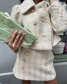 """LoveShackFancy 🎀 on Instagram: """"Morning macaroon run in our new tweed set. Latest Fall drop launching online and in stores TODAY at 10am EST xx"""""""