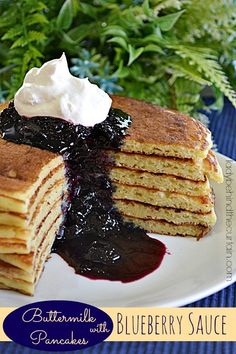 Buttermilk Pancakes with Blueberry Sauce @FoodBlogs