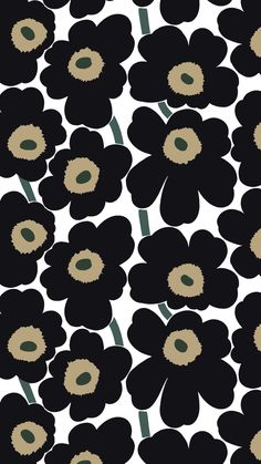 Pieni Unikko Wallpaper from the Marimekko Volume 4 Wallpapers Collection for Galerie, with stylised poppies in indigo, yellow and orange on white. Cheap Wallpaper, Wallpaper Roll, Mobile Wallpaper, Pattern Wallpaper, Wallpaper Backgrounds, Iphone Wallpaper, Orange Wallpaper, Wallpaper Online, Marimekko Wallpaper