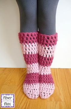 Free Crochet Pattern...Strawberry Blossom Slipper Socks!