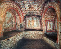 Catacombe di Domitilla Roma III sec. La catacomba deve il suo nome a una Domitilla della stirpe dei Flavii che si era convertita al Cristianesimo. Le pareti e i soffitti sono decorati con affreschi ancora ben conservati. Furono trasformate in santuario da papa Damaso I e poi abbandonate. Furono riscoperte nel  nel 1500.